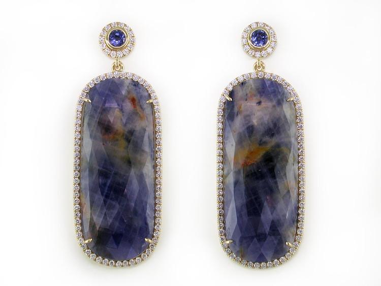 Ruth Taubman Blue Sapphire & Diamond Micropave Earrings