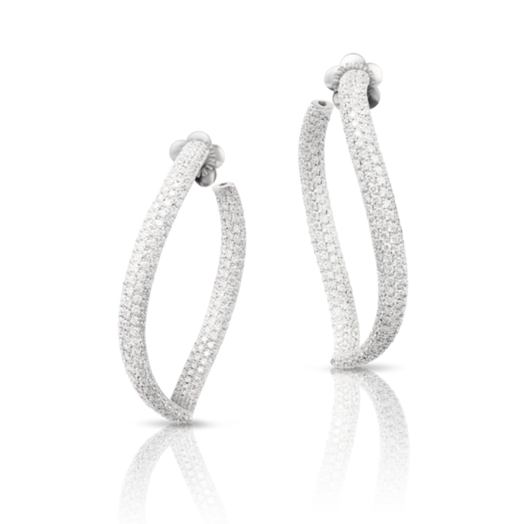 Pasquale Bruni 18k White Gold Sensual Touch Earrings with Diamonds
