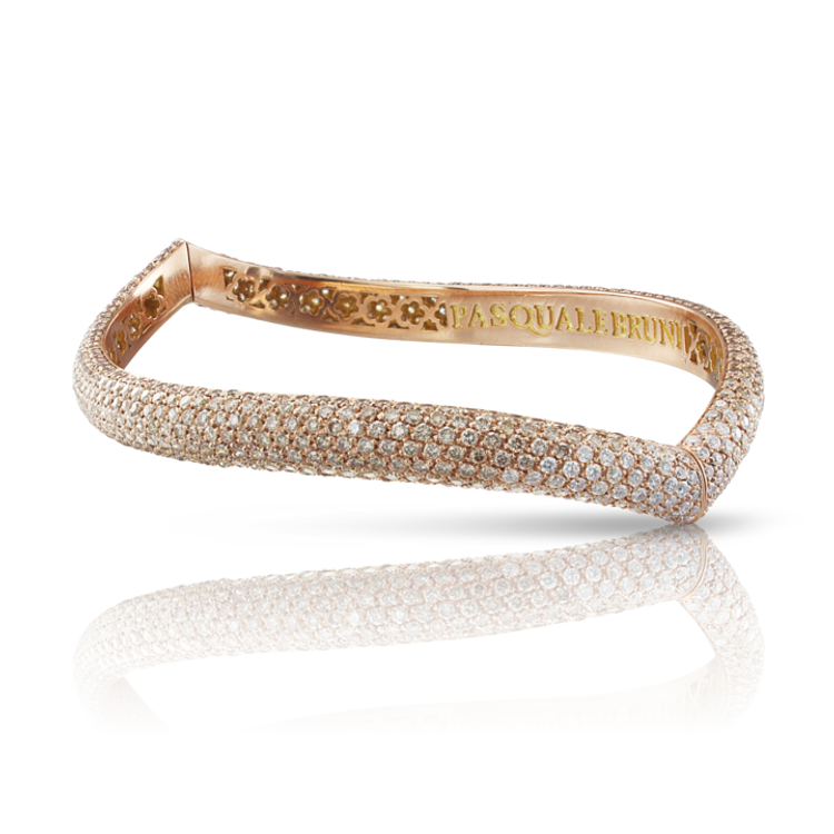 Pasquale Bruni 18k Rose Gold Sensual Touch Bracelet White and Champagne Diamonds