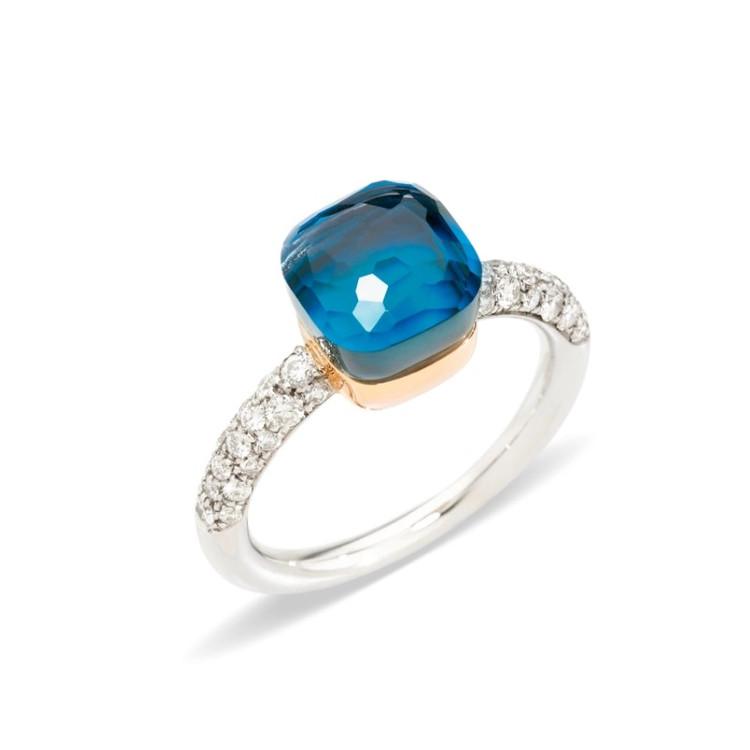 Pomellato Nudo 18K Rose and White Gold London Blue Topaz and Turquoise Diamond Petit Ring, Size 54