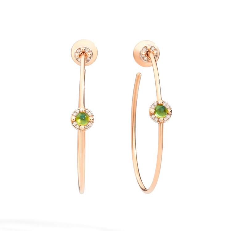 *PRE-ORDER* Pomellato M'ama Non M'ama 18K Rose Gold Peridot and White Diamond Hoop Earrings
