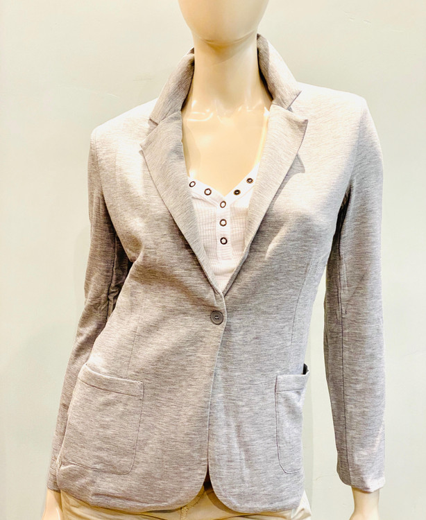 Majestic Filatures French Terry Button Blazer in Gris