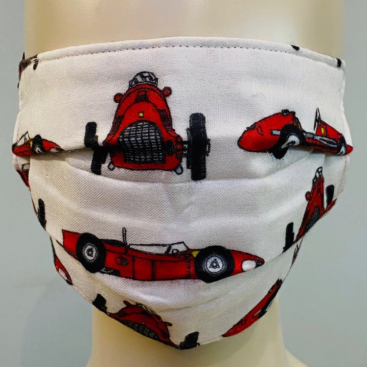 Car Printed Face Mask - White/Red/Multi