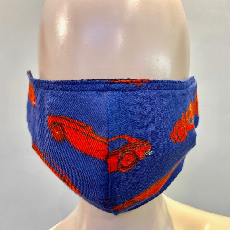 Car Printed Face Mask - Blue/Red