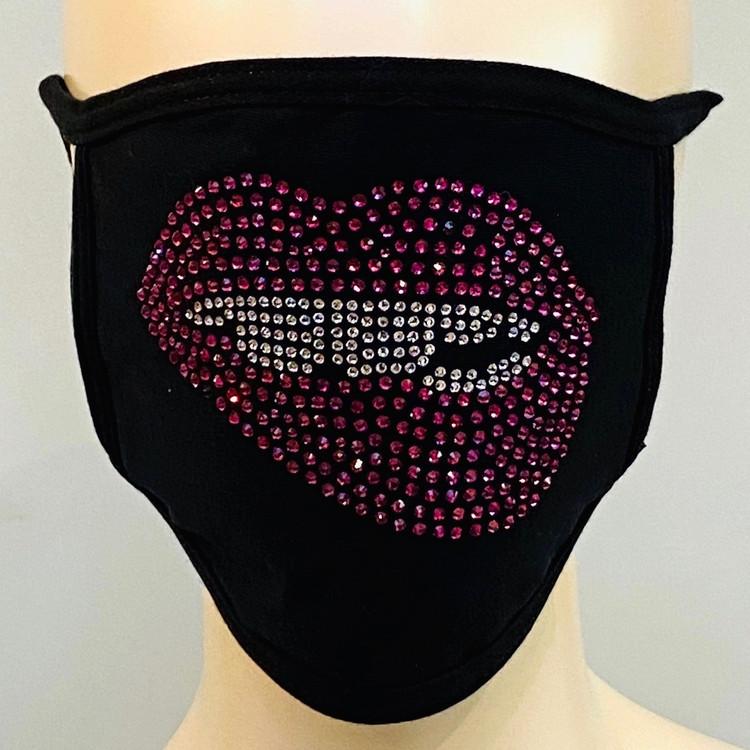 Rhinestone Embellished Mask - Pink Lips