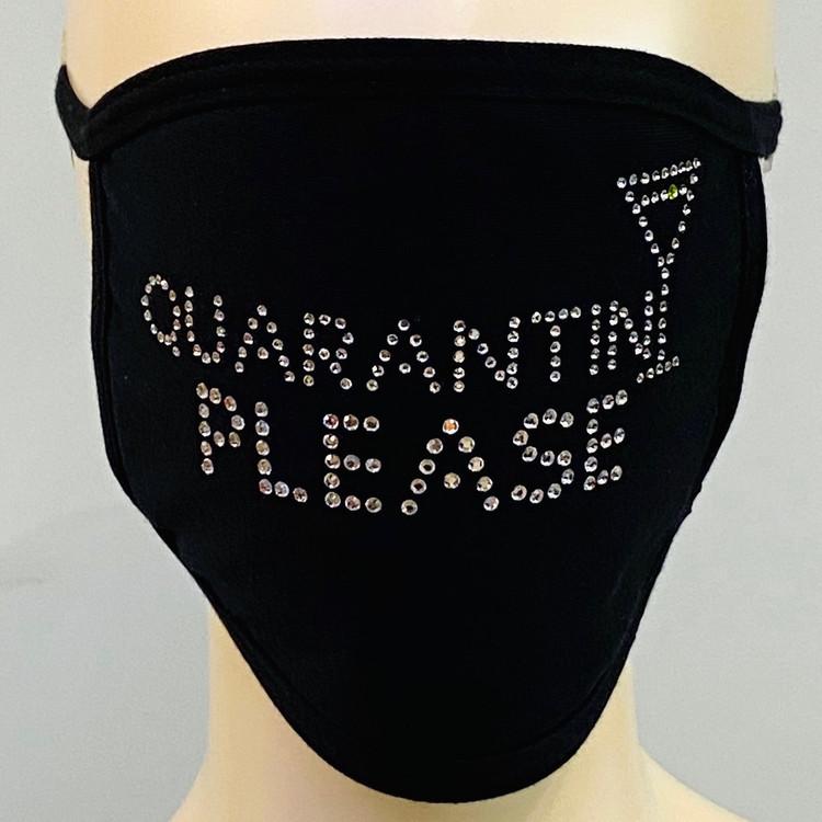 Rhinestone Embellished Mask - Quarantini Please