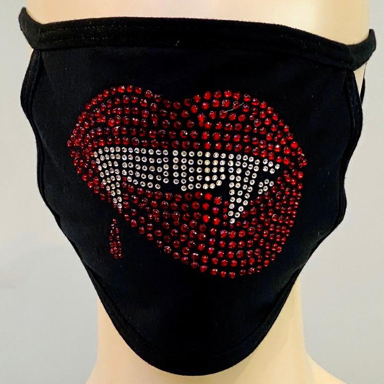 Rhinestone Embellished Mask - Fangs