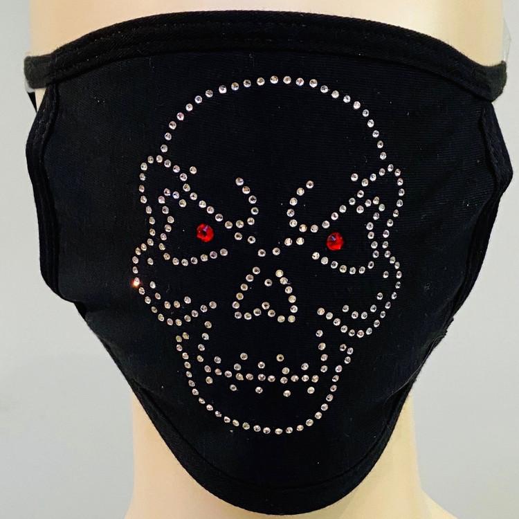 Rhinestone Embellished Mask - Skull
