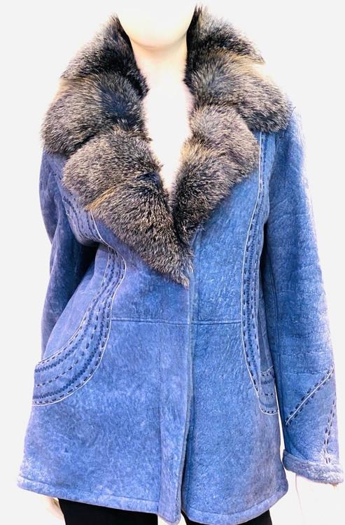 Augustina's Chunky Stitch Coat with Lamb Fur Trim