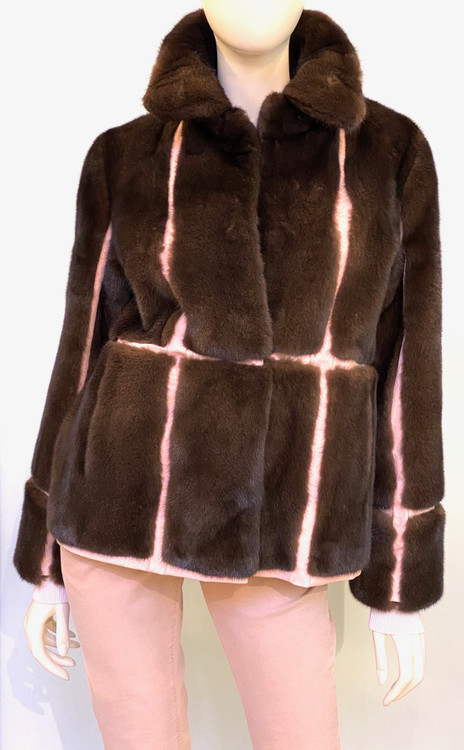 Augustina's Long  Haired Mink Coat in Mahogany