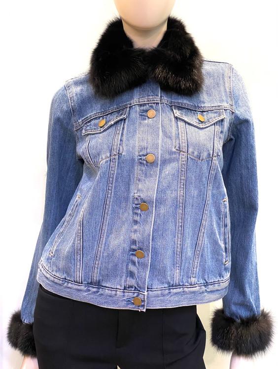 *PRE-ORDER* Augustina's Denim Jacket with Sable Fur Trim