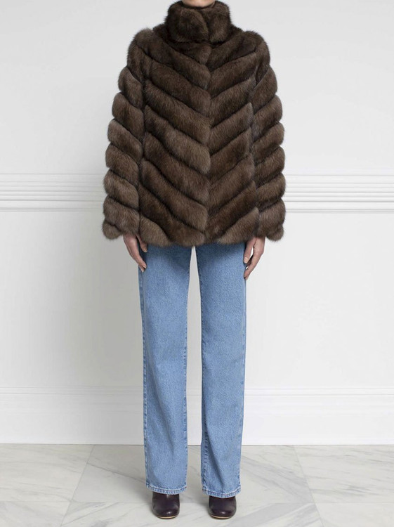 *PRE-ORDER* Augustina's Diagonal Sable Fur and Suede Coat