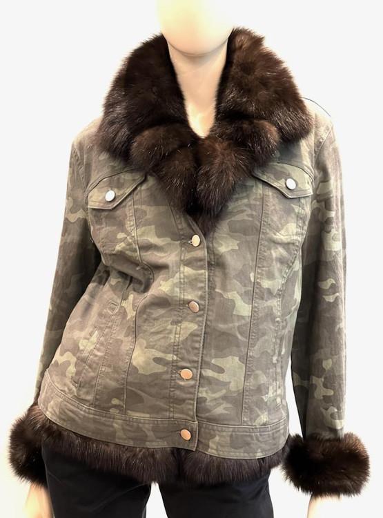 Augustina's Denim Jacket with Removable Sable Fur Vest
