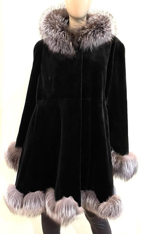 Augustina's Micro Sheared Mink Coat with Silver Fox Fur Trim