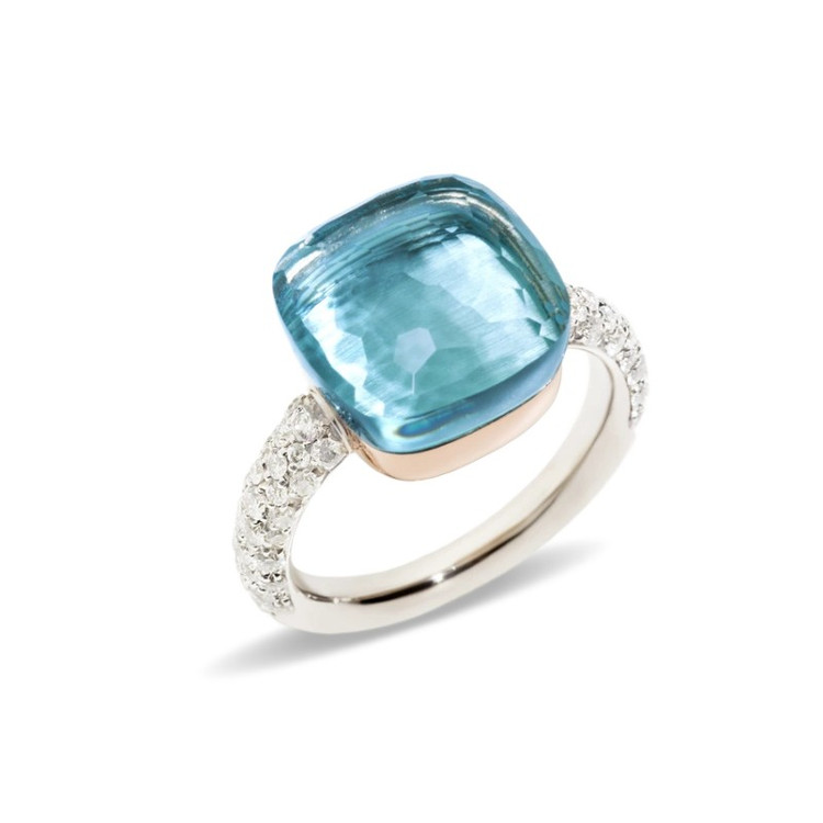 Pomellato Nudo 18K Rose and White Gold Sky Blue Topaz Diamond Maxi Ring, Size 55