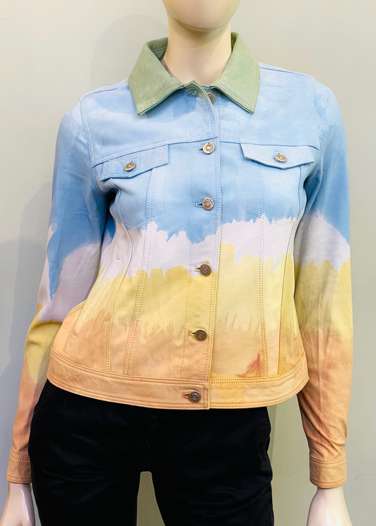 Augustina's Dip Dyed Suede Leather Jacket in Multicolor
