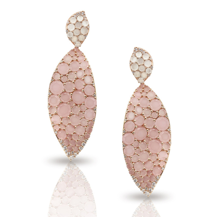 Pasquale Bruni 18K Rose Gold Lakshmi Earrings with Pink Chalcedony, Moonstone and Diamonds