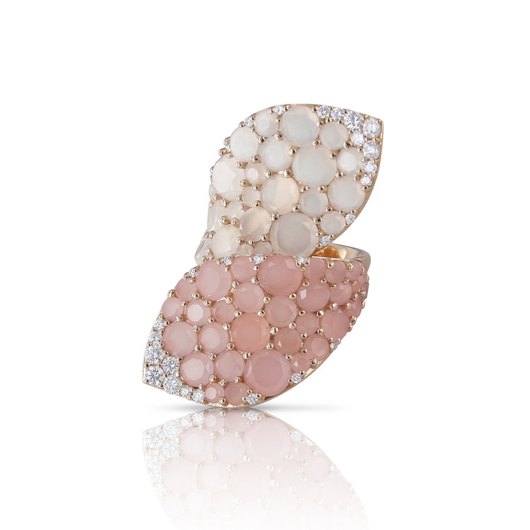 Pasquale Bruni 18K Rose Gold Lakshmi Ring with Pink Chalcedony, Moonstone and Diamonds