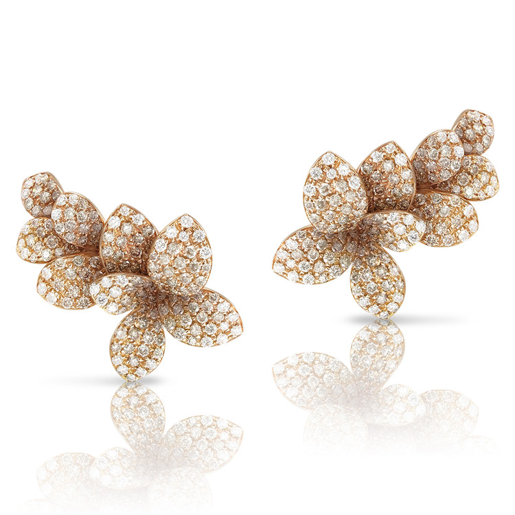 Pasquale Bruni 18K Rose Gold Stelle in Fiore Earrings with White and Champagne Diamonds