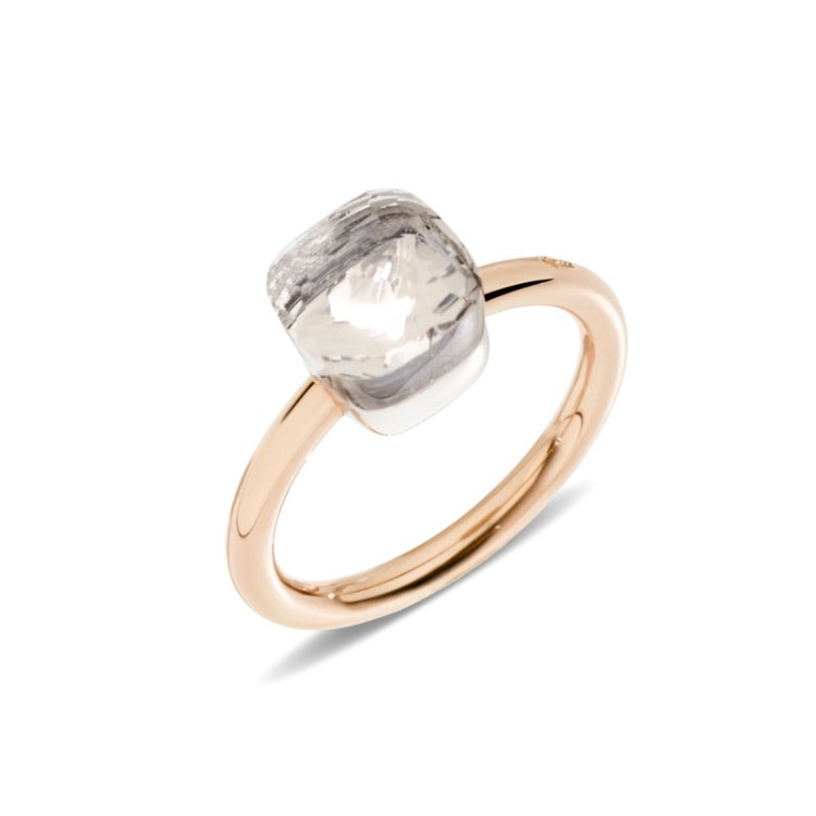 Pomellato Nudo 18K Rose and White Gold White Topaz Petit Ring, Size 55