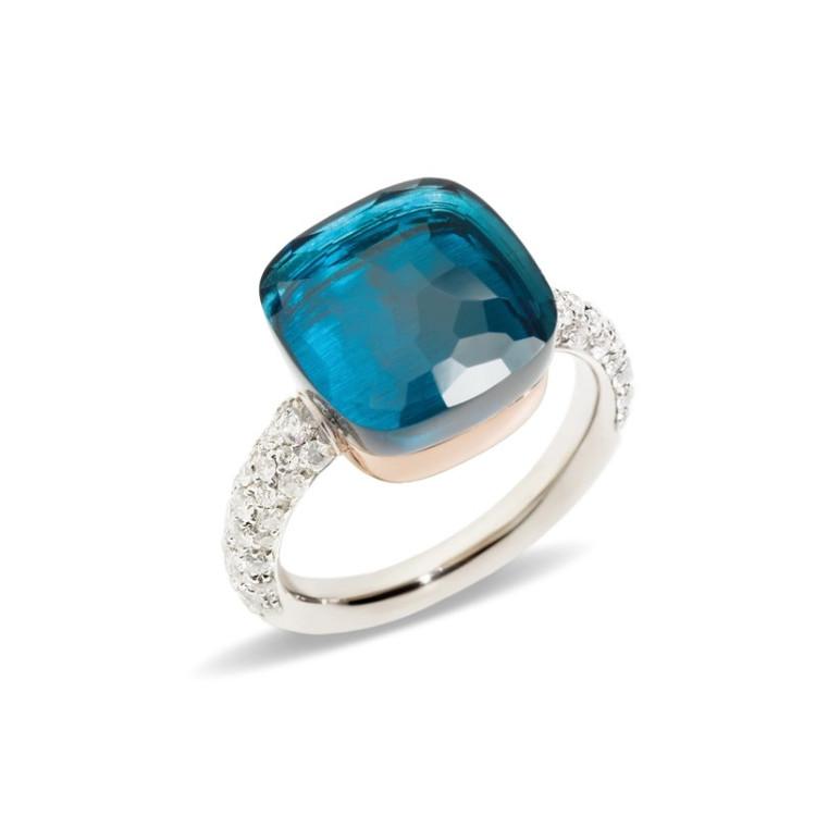 Pomellato Nudo 18K Rose and White Gold London Blue Topaz Diamond Maxi Ring, Size 55
