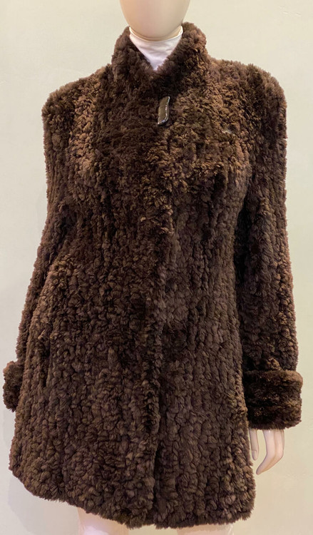 Paula Lishman Hand-Knit Sheared Beaver Louise Stroller in Ombre Walnut