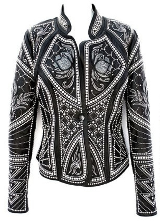 *PRE-ORDER* Kippy's Victoria Embroidered Elements Leather Jacket with Pearls