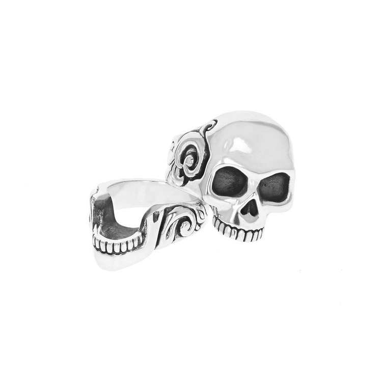 King Baby Studio Men's Stacked Skull Ring with Scroll Design, Size 12