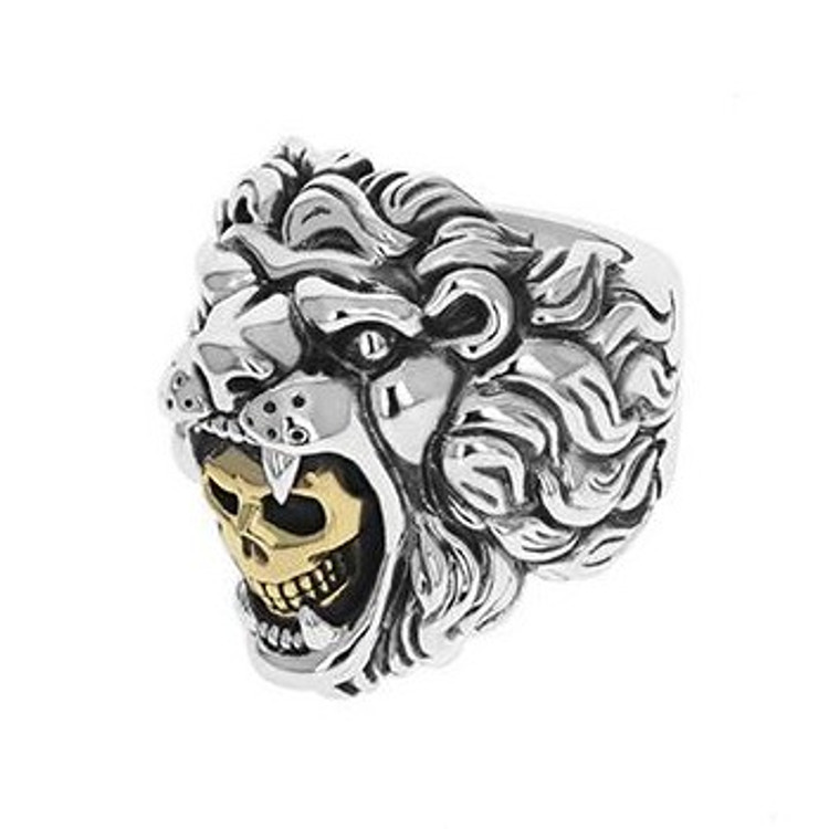 *COMING SOON* King Baby Studio Men's Lion Ring with Gold Alloy Skull, Size 11