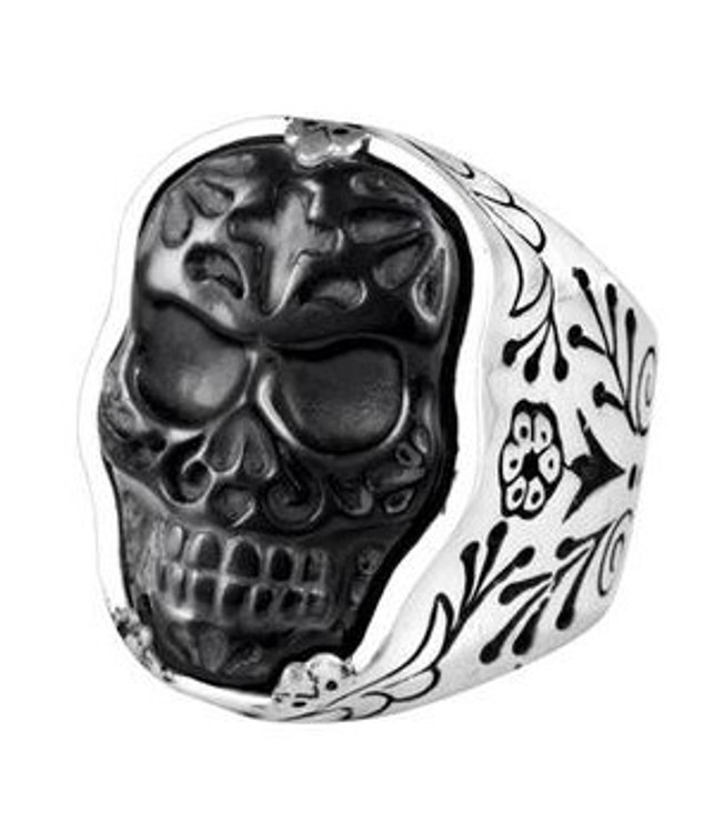 *COMING SOON* King Baby Studio Men's Small Carved Jet Day of the Dead Skull in Silver Frame Ring, Size 11.5