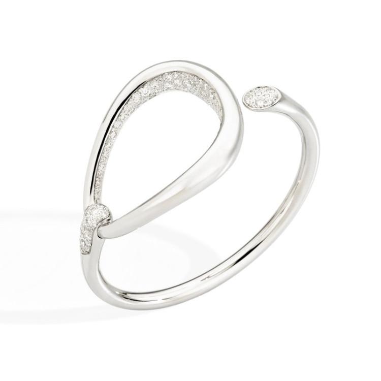 Pomellato Fantina 18K White Gold Diamond Bracelet, Size Medium
