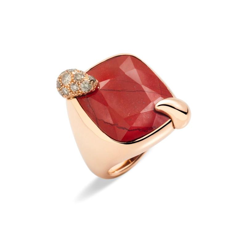 *PRE-ORDER* Pomellato Ritratto 18K Rose Gold Jasper and Brown Diamond Ring