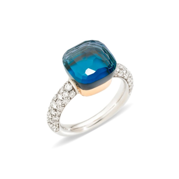Pomellato Nudo 18K Rose and White Gold London Blue Topaz and Turquoise Diamond Classic Ring, Size 54