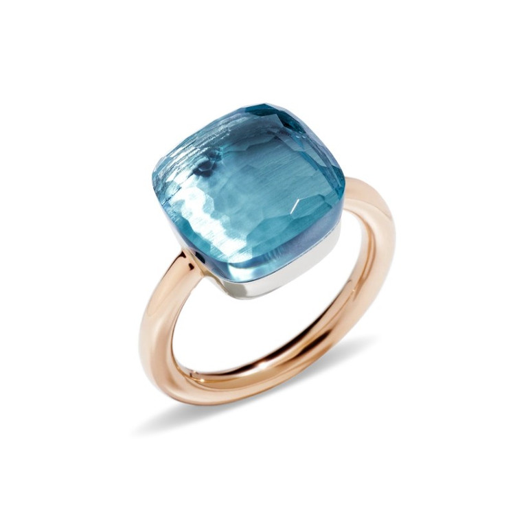 *COMING SOON*Pomellato Nudo 18K Rose and White Gold Blue Topaz Maxi Ring, Size 55