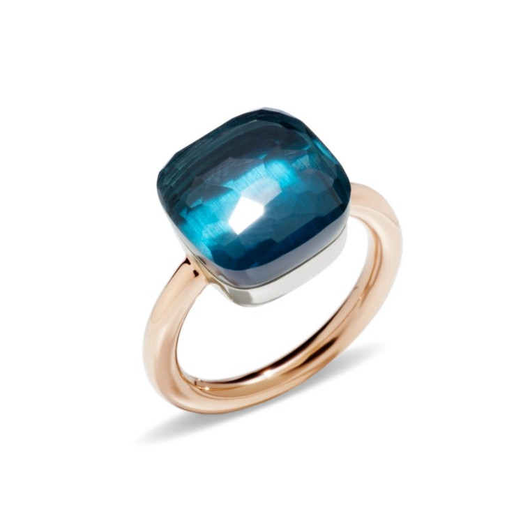 Pomellato Nudo 18K Rose and White Gold London Blue Topaz Maxi Ring, Size 55