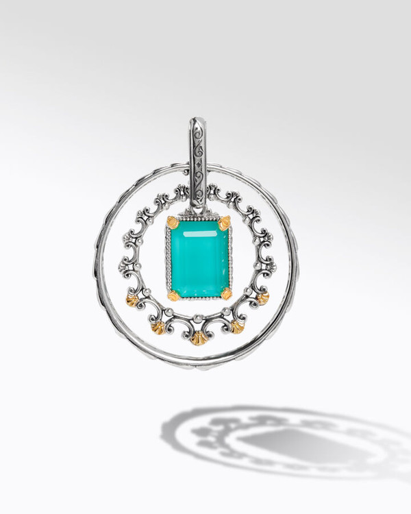 Konstantino Sterling Silver and 18K Gold Water Ring Pendant