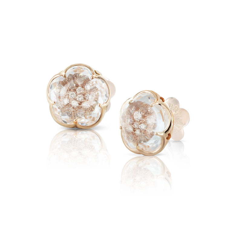 Pasquale Bruni 18K Rose Gold Bon Ton Earrings with Rock Crystal and Champagne Diamonds