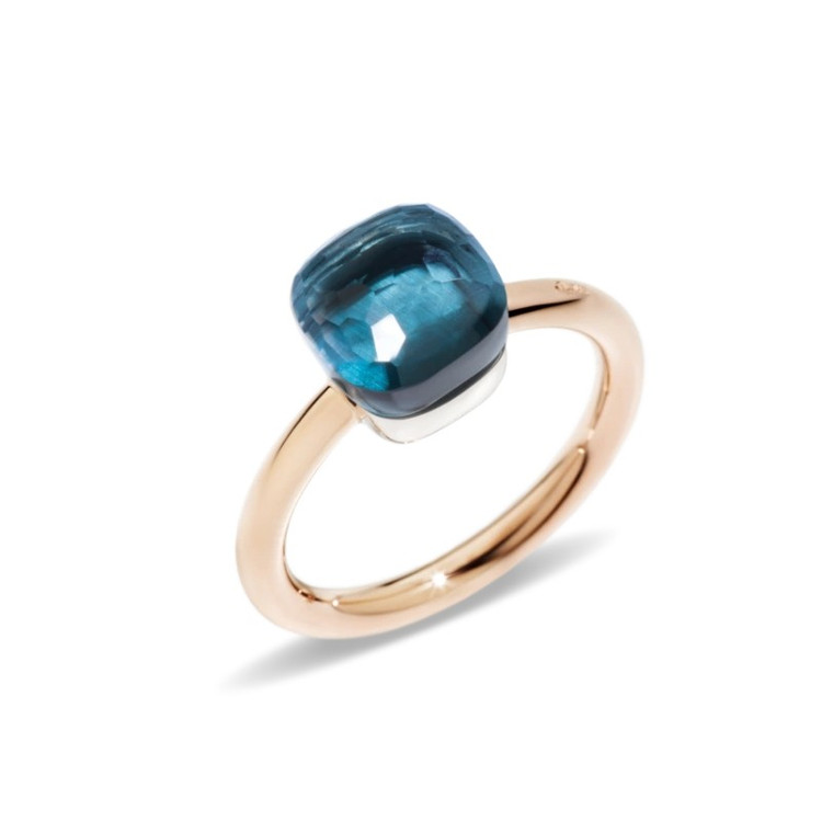 Pomellato Nudo 18K Rose and White Gold London Blue Topaz Petit Ring, Size 54
