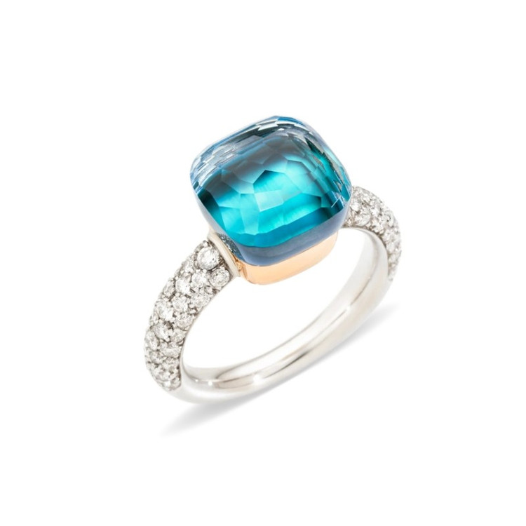 Pomellato Nudo 18K Rose and White Gold Blue Topaz and Agate Classic Ring, Size 54