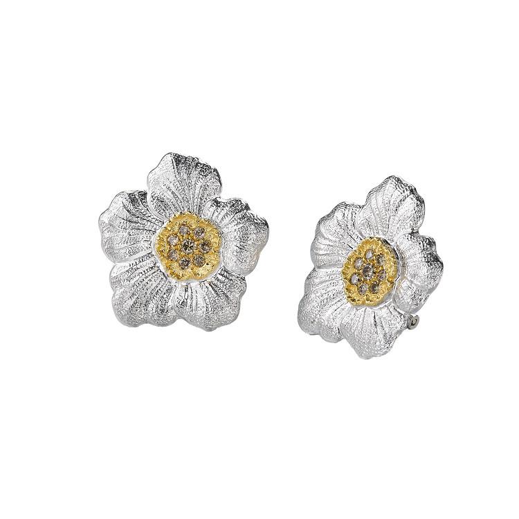 Buccellati Gardenia Large Silver Button Diamond Earrings