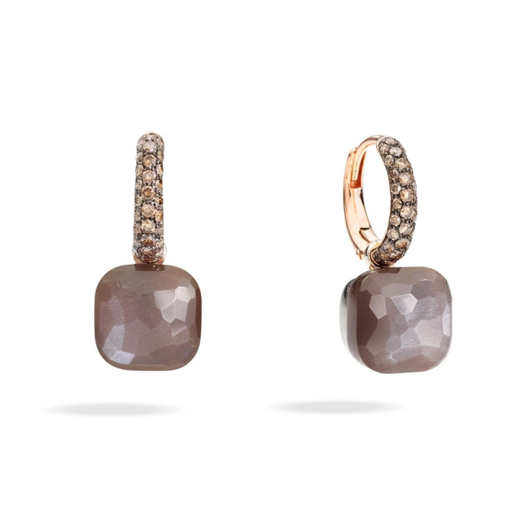 Pomellato Nudo Chocolate 18K Rose and White Gold Earrings with Brown Moonstone and Diamonds