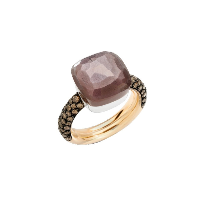 Pomellato Nudo Chocolate 18K Rose and White Gold Brown Moonstone and Diamond Maxi Ring, Size 54