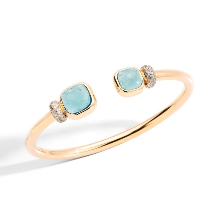 Pomellato Nudo 18K Rose Gold Sky Blue Topaz and Diamond Bangle Bracelet, Size M