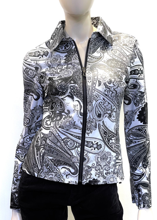Augustinas Paisley Printed Zip Front Leather Jacket