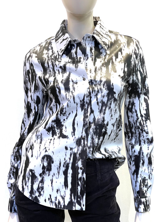 Augustina's Leather Printed Shirt in Black/White