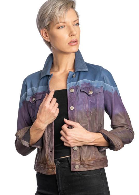 Augustina's Printed Jean Leather Jacket in Blue Tie-Dye