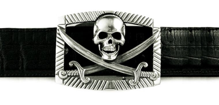 Jeff Deegan Sterling Silver Jolly Roger Buckle