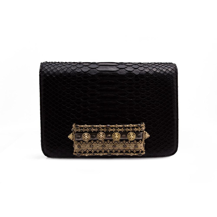 Armenta Small Box Clutch with Stack Bangles in Black Python