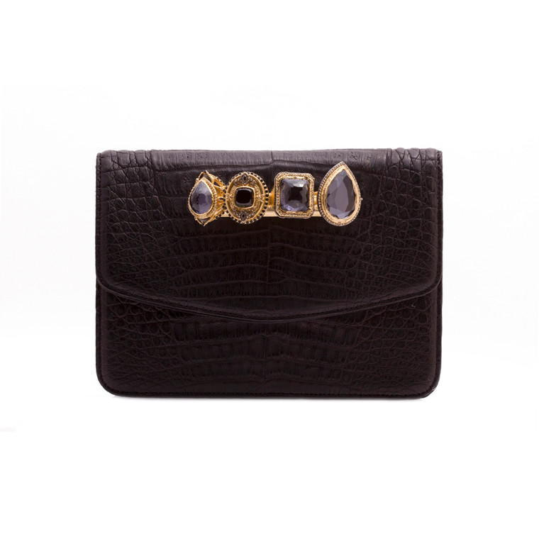 Armenta Small Box Clutch with Four Rings, Black Caiman