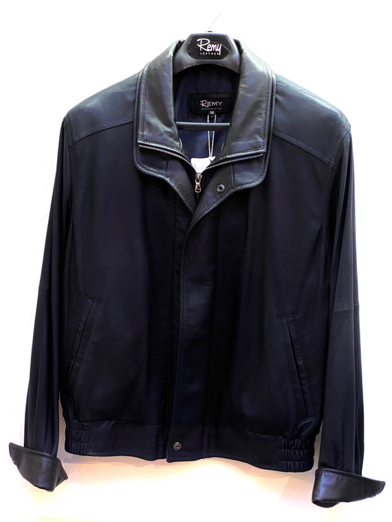 Remy Men's Double Collar Leather Jacket Navy/Noir